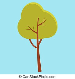 Green Summer Tree with Brown Stem Isolated on Blue