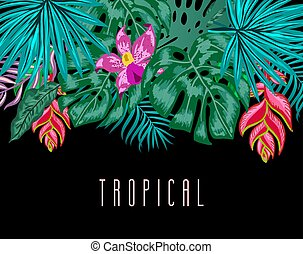 Green summer tropical background with exotic palm leaves and...