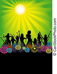 Green Sun Summer Party Flyer - Retro flyer for your summer...