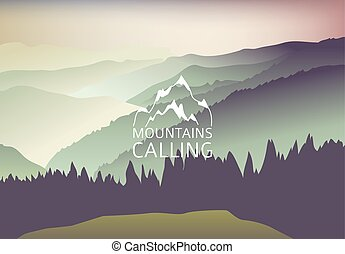 green Sundown in the mountain - Vector Background. Sign Mountains are calling