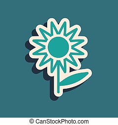 Green Sunflower icon isolated on green background. Long shadow style. Vector