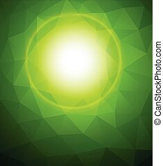 Green sunny background with mosaic pattern, vector illustration.