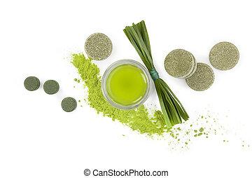 Green superfood. - Greed superfood. Spirulina, chlorella and...