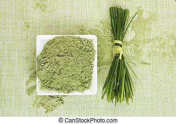 Green superfood. Wheat grass and barley grass. Ground powder...