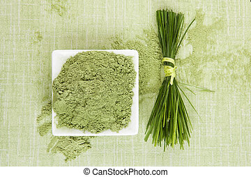 Green superfood. Wheat grass and barley grass. Ground powder and fresh grass blades on green background, top view. Healthy herbal medicine.