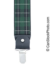 Green suspenders on a white background