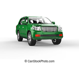 Green SUV isolated on white
