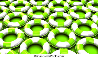 Green swim rings on green background. 3DCG render animation....