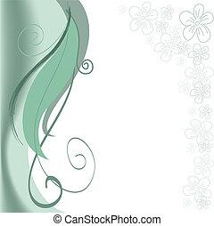 green swirls with flowers