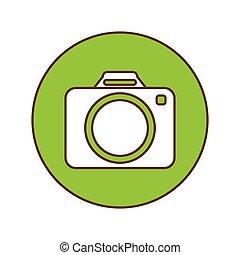 Green symbol camara button image