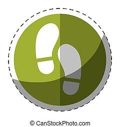 Green symbol footprints button icon
