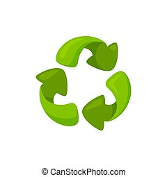 Green symbol of recycling with shadows and overtone. Zero waste recycle sign. Vector illustration