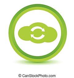 Green synchronization cloud icon