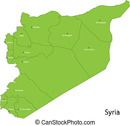 Green Syria map - Map of administrative divisions of Syria