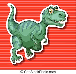 Green T-Rex running alone