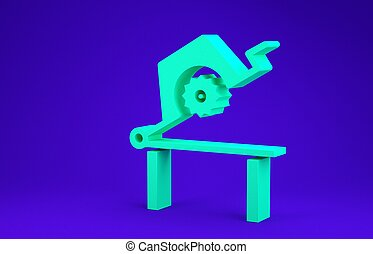 Green Table saw for woodwork icon isolated on blue background. Power saw bench. Minimalism concept. 3d illustration 3D render