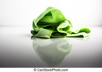 Green tablecloth isolated on white background