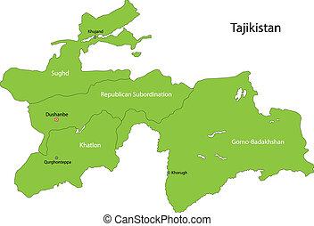 Green Tajikistan map