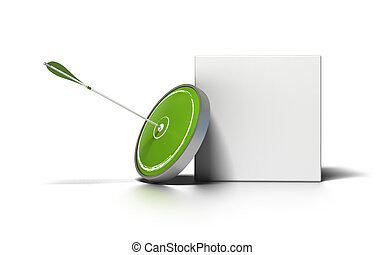 green target and arrow near a white box for writing a message image is over a white background