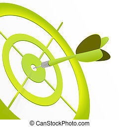 Concept illustration about green target, green goal