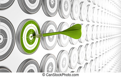green target hitted by a green dart with many other grey...