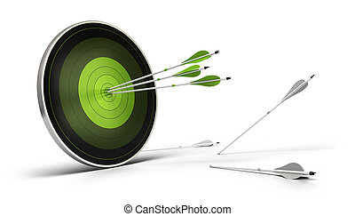 green target onto a white background with three arrows...