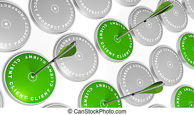 green targets with client marking, green arrows hitting the ...