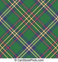 Green tartan classic seamless pattern. Vector illustration.