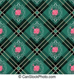 Green tartan plaid and flowers pattern on checkered background for textile
