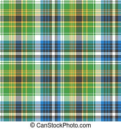 Green tartan seamless fabric texture. Vector illustration.