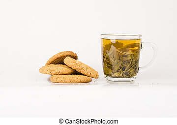 Green tea and cookie