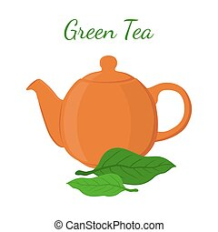 Green tea - asian drink. Teapot, leaves of matcha tea, teakettle