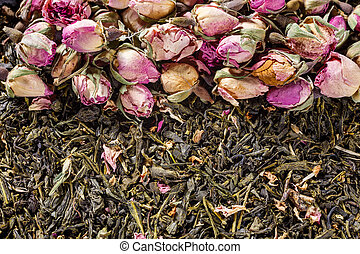 Green tea background - Background with green tea and rose...