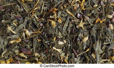 Green tea close up. Loopable rotation.