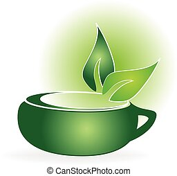 Green tea cup logo - Fresh tea and green leafs
