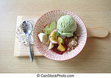 Green tea ice cream with fruit