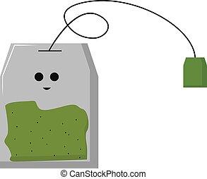 Green tea, illustration, vector on white background.