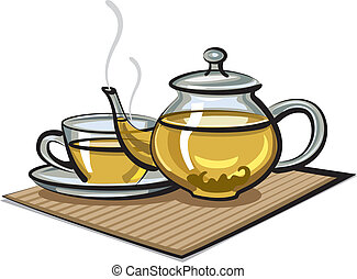 green tea in cup and teapot