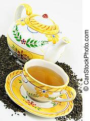 Green tea in cup.