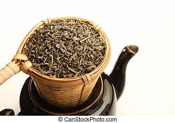Green tea in strainer - Green tea leaves in bamboo tea...