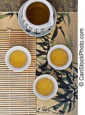 Green tea in the Chinese cups. top view.