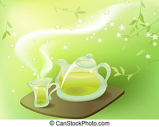 Green tea in the morning