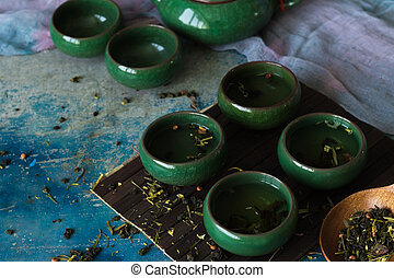 Green tea in traditional Chinese cups