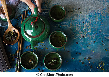 Green tea in traditional Chinese cups view from the top