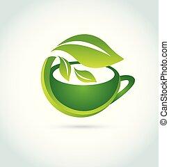 Green tea leaf organic vector icon logo