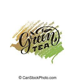 Green tea lettering - Vector illustration of green tea brush...