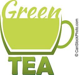 Green tea logo company. Vector logo illustration.