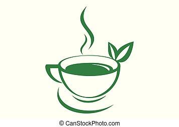 green tea logo vector icon