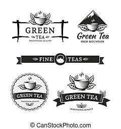 Green tea logos. Vector set label for tea shop or cafe.