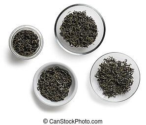 Green tea on a white background.
